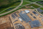Aerial photograph of the new Verona Area High School, under construction. Opening August, 2020. Verona, Wisconsin, USA.