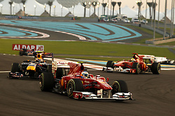 Motorsports / Formula 1: World Championship 2010, GP of Abu Dhabi, 08 Fernando Alonso (ESP, Scuderia Ferrari Marlboro), 06 Mark Webber (AUS, Red Bull Racing),   07 Felipe Massa (BRA, Scuderia Ferrari Marlboro),