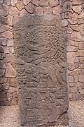 Relief sculptures known as Stele or obelisks of Monte Albán pre-Columbian archaeological site in the Santa Cruz Xoxocotlán, Oaxaca, Mexico.