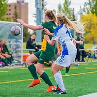 4th year forward Brianna Wright (7) of the Regina Cougars in action during the Women's Soccer Home Game on September 24 at U of R Field. Credit Matt Johnson/©Arthur Images 2017