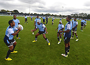 Fijian team members take part in a group session  during the Fiji Training Session in preparation for the Rugby World Cup at London Irish RFC, Sunbury-On-Thames, United Kingdom on 14 September 2015. Photo by Ian Muir. during the Fiji Training Session in preparation for the Rugby World Cup at London Irish RFC, Sunbury-On-Thames, United Kingdom on 14 September 2015. Photo by Ian Muir.