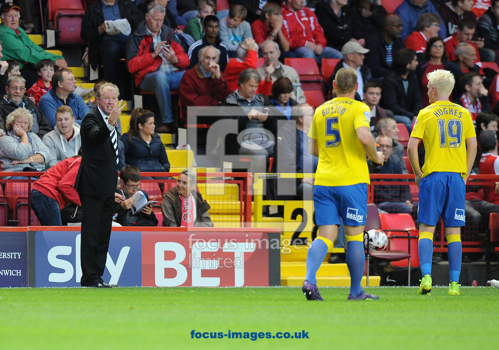 Manager Steve McClaren of Derby County  signals to his players Jake Buxton (5) and Will Hughes (19) during the Sky Bet Championship match at The Valley, London<br /> Picture by Alan Stanford/Focus Images Ltd +44 7915 056117<br /> 19/08/2014