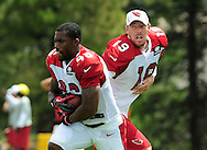 Jul. 28, 2012; Flagstaff, AZ, USA; Arizona Cardinals quarterback John Skelton (19) hands the ball to running back Alfonso Smith (46) during training camp practice on the campus of Northern Arizona University.  Mandatory Credit: Jennifer Stewart-US PRESSWIRE.
