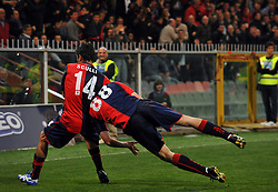 Thiago Motta (L) and Salvatore Bocchetti of Genoa celebrate a goal during the Serie A match between Genoa and Juventus at the Stadio Luigi Ferraris on April 11, 2009 in Genova, Italy.