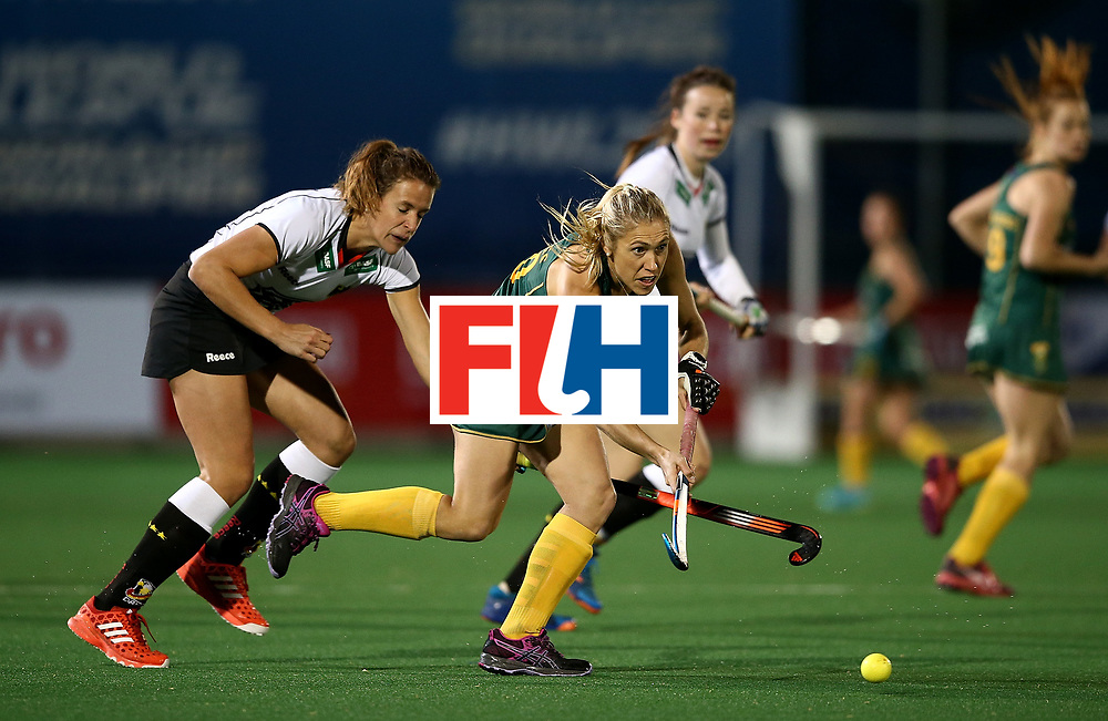 JOHANNESBURG, SOUTH AFRICA - JULY 18:  Shelley Jones of South Africa battles with Janne Muller-Wieland of Germany during day 6 of the FIH Hockey World League Women's Semi Finals quarter final match between Germany and South Africa at Wits Univesity on July 18, 2017 in Johannesburg, South Africa.  (Photo by Jan Kruger/Getty Images for FIH)