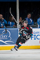 KELOWNA, CANADA - DECEMBER 3: Jesse Lees #2 of Kelowna Rockets skates behind the net against the Saskatoon Blades on December 3, 2014 at Prospera Place in Kelowna, British Columbia, Canada.  (Photo by Marissa Baecker/Shoot the Breeze)  *** Local Caption *** Jesse Lees;