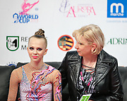 Davidova Valeriya during qualifying at ribbon in Pesaro World Cup at Adriatic Arena on April 27, 2013. Valeriya was born December 15, 1997 in Tashkent,Uzbekistan. She is an Uzbek individual rhythmic gymnast.