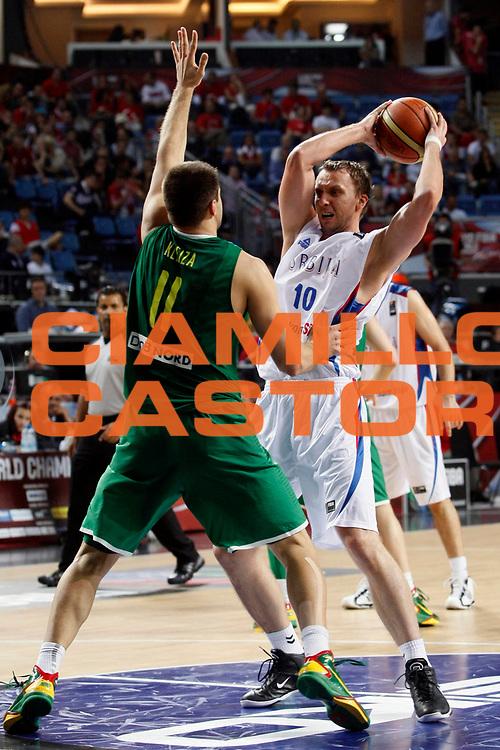 DESCRIZIONE : Istanbul Turchia Turkey Men World Championship 2010 Final Third Fourth Place Campionati Mondiali Finale Terzo Quarto Posto Serbia Lithuania <br /> GIOCATORE : Dusko Savanovic<br /> SQUADRA : Serbia<br /> EVENTO : Istanbul Turchia Turkey Men World Championship 2010 Campionato Mondiale 2010<br /> GARA : Serbia Lithuania Serbia Lituania<br /> DATA : 12/09/2010<br /> CATEGORIA : palleggio<br /> SPORT : Pallacanestro <br /> AUTORE : Agenzia Ciamillo-Castoria/M.Metlas<br /> Galleria : Turkey World Championship 2010<br /> Fotonotizia : Istanbul Turchia Turkey Men World Championship 2010 Final Third Fourth Place Campionati Mondiali Finale Terzo Quarto Posto Serbia Lithuania<br /> Predefinita :
