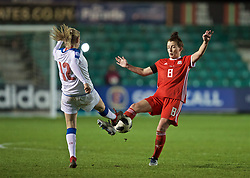 NEWPORT, WALES - Thursday, April 4, 2019: Wales' Angharad James (R) and Czech Republic's Klára Cahynová during an International Friendly match between Wales and Czech Republic at Rodney Parade. (Pic by David Rawcliffe/Propaganda)