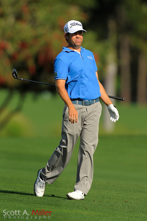 Erik Compton reacts to his second shot on the third hole during the second round of the Honda Classic at PGA National on March 2, 2012 in Palm Beach Gardens, Fla. ..©2012 Scott A. Miller.