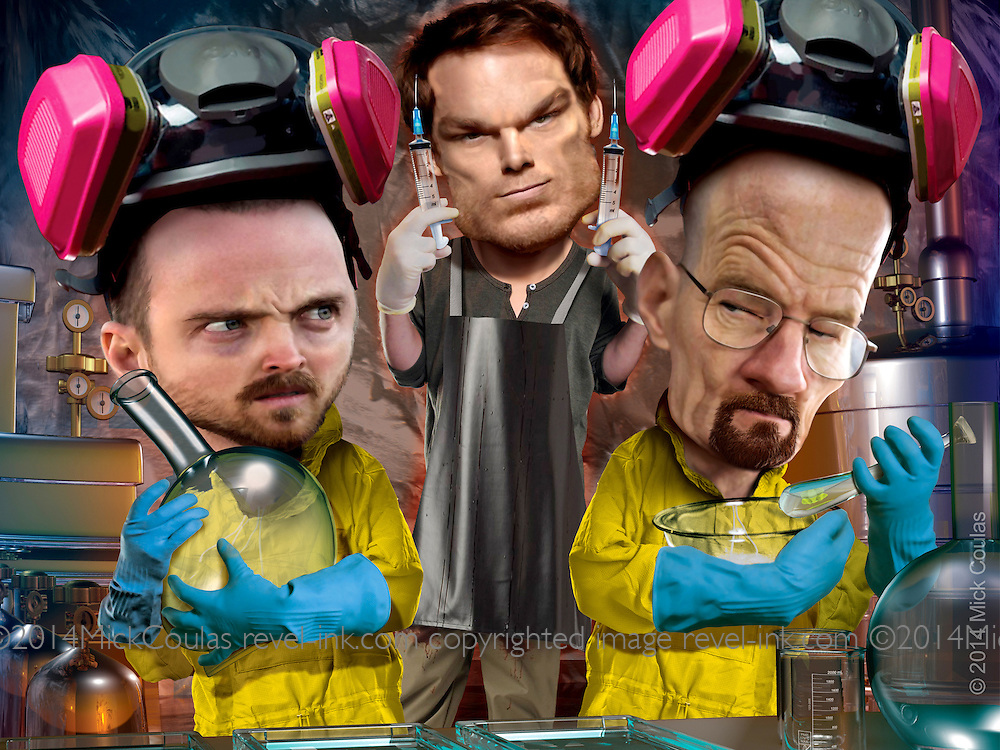 Caricature originally published for Penthouse DVD Review: The Series Finales of Breaking Bad and Dexter might put some loyal viewers into drama withdrawal, if it were not for the DVD release. Bryan Cranston, Aaron Paul as meth cooks, and Michael C. Hall as serial killer. 3D and Photoshop.
