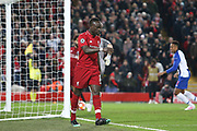 Liverpool forward Sadio Mane (10) awaits the VAR decision during the Champions League Quarter-Final Leg 1 of 2 match between Liverpool and FC Porto at Anfield, Liverpool, England on 9 April 2019.