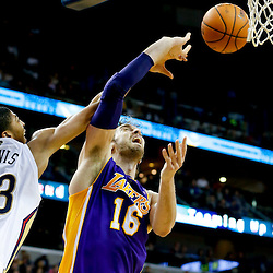 Nov 8, 2013; New Orleans, LA, USA;  New Orleans Pelicans power forward Anthony Davis (23) blocks a shot attempt by Los Angeles Lakers center Pau Gasol (16) during the third quarter of a game at New Orleans Arena. The Pelicans defeated the Lakers 96-85. Mandatory Credit: Derick E. Hingle-USA TODAY Sports