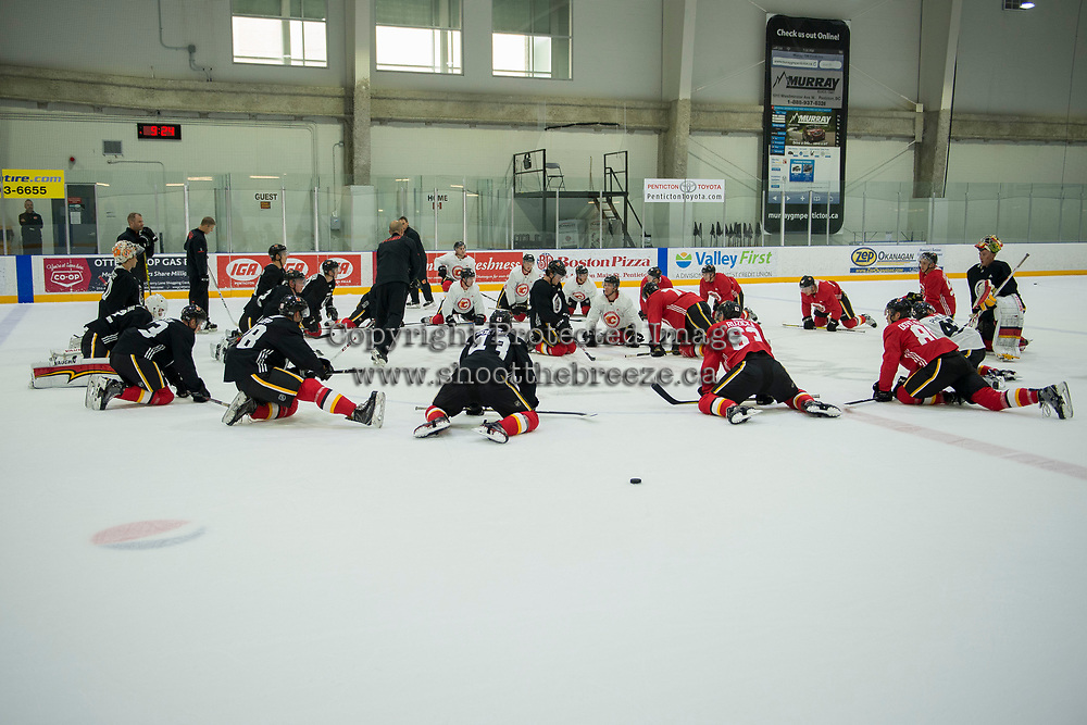 PENTICTON, CANADA - SEPTEMBER 8: The Calgary Flames stretch on the ice during morning skate on September 8, 2017 at the South Okanagan Event Centre in Penticton, British Columbia, Canada.  (Photo by Marissa Baecker/Shoot the Breeze)  *** Local Caption ***