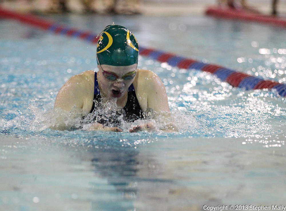 Cedar Rapids Kennedy's Brooke Timmerman comes up for air in the 100 yard breaststroke event at the Girls' High School State Swimming & Diving Championships at the Marshalltown YMCA/YWCA in Marshalltown on Saturday, November 9, 2013. Timmerman placed ninth with a time of 1:08.23.