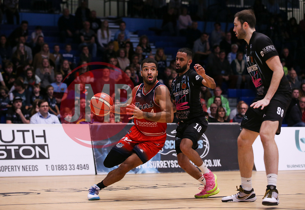 Lewis Champion of Bristol Flyers drives at the defence - Photo mandatory by-line: Arron Gent/JMP - 02/11/2019 - BASKETBALL - Surrey Sports Park - Guildford, England - Surrey Scorchers v Bristol Flyers - British Basketball League Cup