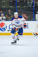 PENTICTON, CANADA - SEPTEMBER 17: Tomas Soustal #41 of Edmonton Oilers skates to the bench against the Calgary Flames on September 17, 2016 at the South Okanagan Event Centre in Penticton, British Columbia, Canada.  (Photo by Marissa Baecker/Shoot the Breeze)  *** Local Caption *** Tomas Soustal;