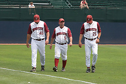 Lafayette Leopards Asst. Coach Rick Clagett (40), Lafayette Leopards Asst. Coach Adrian Yaquez (5), and Lafayette Leopards Head Coach Joe Kinney (25).  The Lafayette Leopards fell to the the Rutgers Scarlet Knights 11-10 in their second game of the NCAA World Series Regional held at Davenport Field in Charlottesville, VA on June 2, 2007.