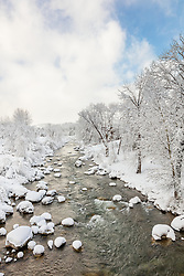 """Snowy Truckee River 8"" - Photograph of the Truckee River in historic Downtown Truckee, shot after a big snow storm."
