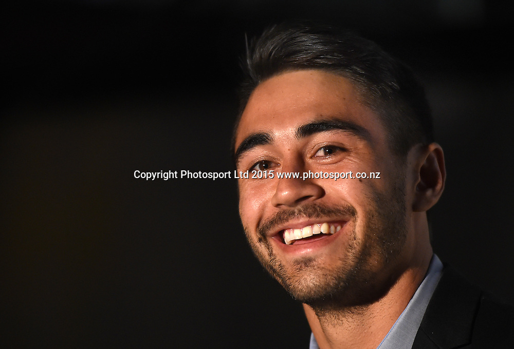 Shaun Johnson. Vodafone Warriors Season Launch. NRL Rugby League. Sky City Grand Hotel. Auckland, New Zealand. Wednesday 18 March 2015. Copyright Photo: Andrew Cornaga / www.Photosport.co.nz