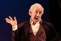 "© Licensed to London News Pictures. 13/09/2012. London, England. Actor Simon Callow performs the one-man show ""The Mystery of Charles Dickens"" at the Playhouse Theatre from 13 September to 10 November. Callow brings Dickens' story to life, as well as 49 of his well-known characters from Bill Sikes to Miss Havisham. The Mystery of Charles Dickens first premiered in 2000 before being revived in 2002. This production marks the 200th anniversary of the birth of Charles Dickens. The play was written by Peter Ackroyd. Photo credit: Bettina Strenske/LNP"