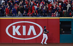 October 11, 2017 - Cleveland, OH, USA - Cleveland Indians right fielder Jay Bruce watches as a two-run home run by the New York Yankees' Didi Gregorius clears the right field wall in the third inning during Game 5 of the American League Division Series, Wenesday, Oct. 11, 2017, at Progressive Field in Cleveland. (Credit Image: © Leah Klafczynski/TNS via ZUMA Wire)