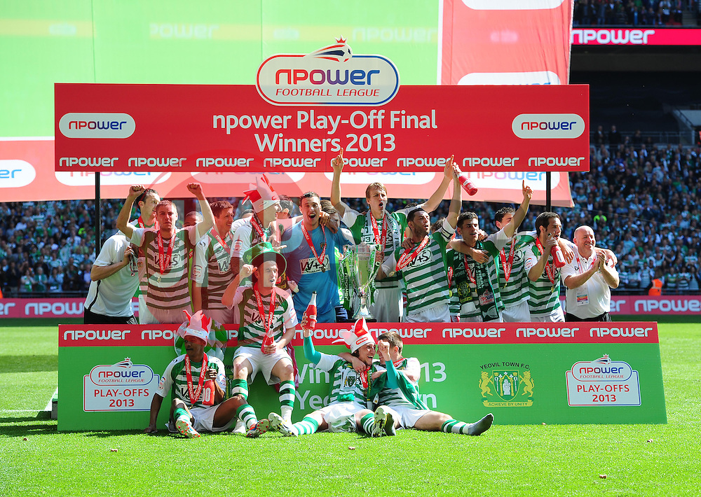 Yeovil players celebrate promotion - Photo mandatory by-line: Joe Meredith/JMP - Tel: Mobile: 07966 386802 19/05/2013 - SPORT - FOOTBALL - LEAGUE 1 - PLAY OFF - FINAL - Wembley Stadium - London - Brentford V Yeovil Town