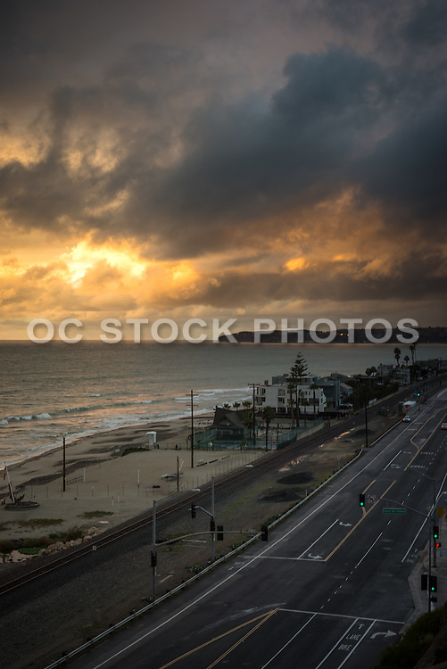 Pacific Coast Highway at Sunset with Storm Clouds