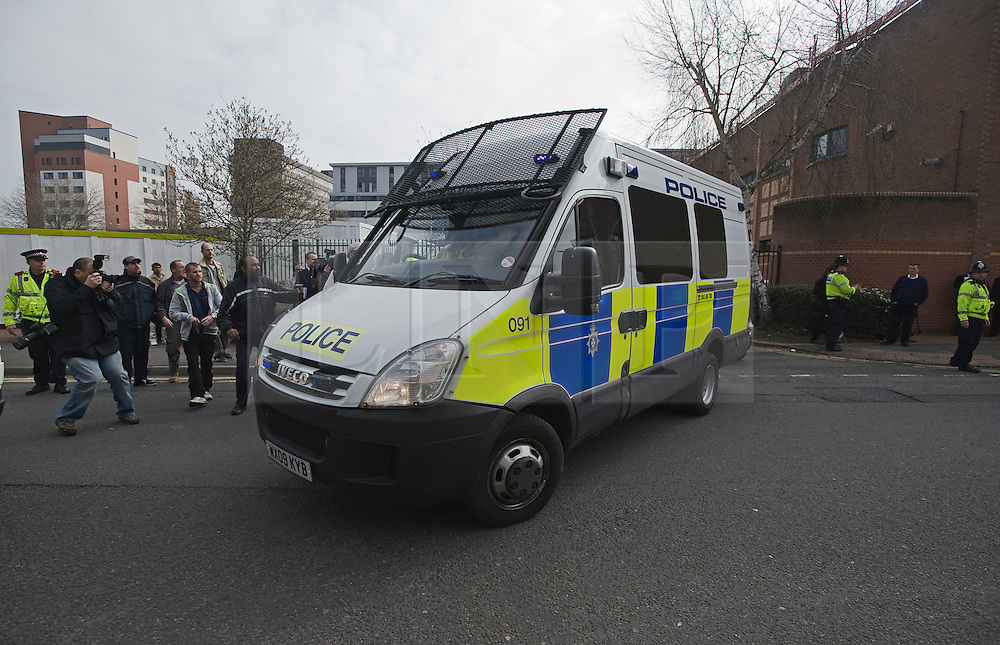 © under license to London News Pictures.  28/03/2011. A police van carrying  Christopher Halliwell leaves Swindon Magistrates Court. Halliwell has been charged with the murder of 22 year-old Sian O'Callaghan.  Photo credit should read: LNP..