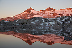 """Lake Aloha Reflection 1"" - These mountains and their reflection were photographed at sunrise at Lake Aloha, in the Tahoe Desolation Wilderness."
