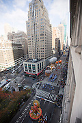 A thanksgiving turkey float goes down 6th Avenue for the 89th annual Macy's Thanksgiving Day Parade as seen from above street level on Thursday, Nov. 26, 2015, in New York. (Photo by Ben Hider/Invision/AP)