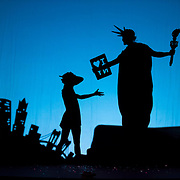 November 20, 2015 - New York, NY : Dancers with the international dance collective Pilobolus Dance Theater, perform an encore during a dress rehearsal for the American premiere of 'Shadowland' at the NYU Skirball Center for the Performing Arts in Manhattan on Friday, Nov. 20. The troupe performs a city-specific encore tailored to each new venue they perform in: in this case, the Statue of Liberty and other New York City landmarks are featured. CREDIT: Karsten Moran for The New York Times