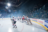 KELOWNA, CANADA - JANUARY 10: The Kelowna Rockets take part in a pre-game ritual against the Medicine Hat Tigers on January 10, 2015 at Prospera Place in Kelowna, British Columbia, Canada.  (Photo by Marissa Baecker/Shoot the Breeze)  *** Local Caption ***