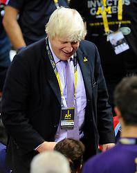 Boris Johnson congratulates the British team on their semi final win over Australia - Photo mandatory by-line: Joe Meredith/JMP - Mobile: 07966 386802 - 12/09/2014 - The Invictus Games - Day 2 - Wheelchair Rugby - London - Copper Box Arena