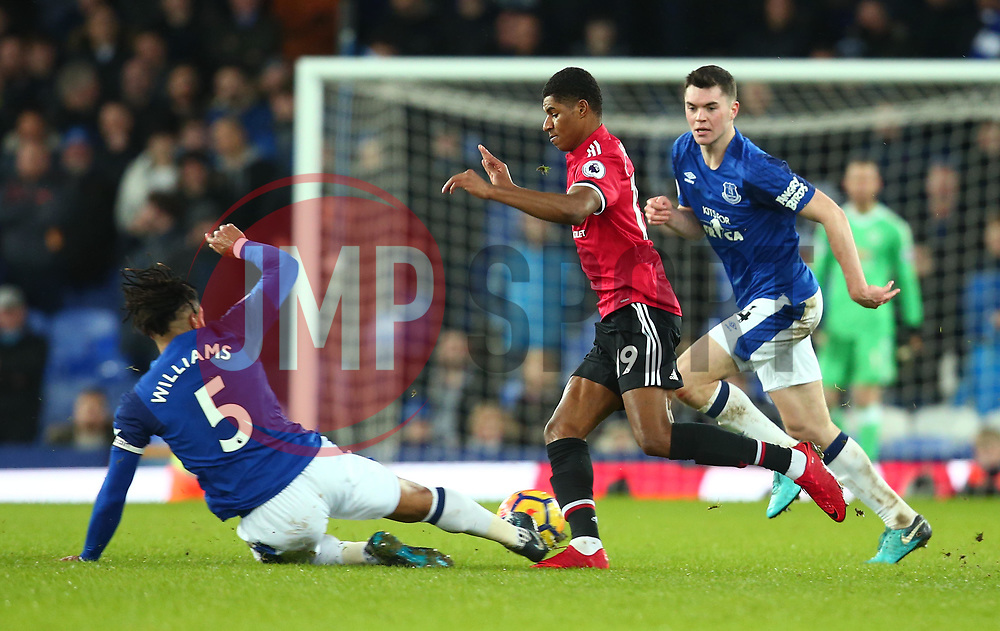 Marcus Rashford of Manchester United is tackled by Ashley Williams of Everton - Mandatory by-line: Robbie Stephenson/JMP - 01/01/2018 - FOOTBALL - Goodison Park - Liverpool, England - Everton v Manchester United - Premier League