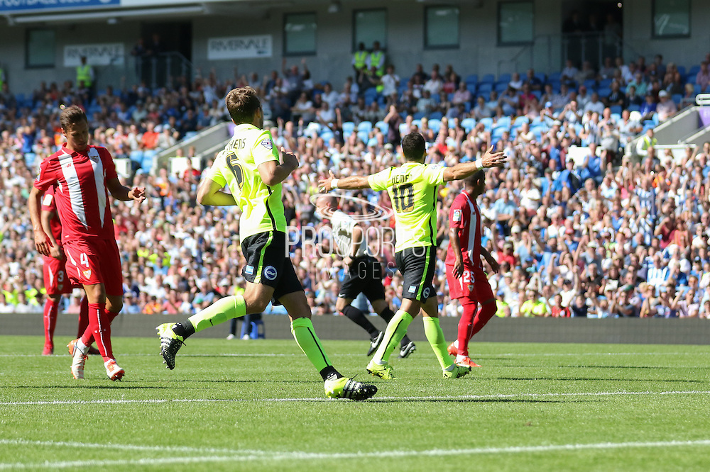 Tomer Hemed of Brighton & Hove Albion celebrates his goal during the Pre-Season Friendly match between Brighton and Hove Albion and Sevilla at the American Express Community Stadium, Brighton and Hove, England on 2 August 2015. Photo by Ellie Hoad.