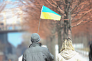 March 15, 2014 - Roosevelt Island, NY. Ukrainian Supporters attended a rally led by Rep. Carolyn Maloney to protest Russia's invasion attempt on Crimea. 03/15/2014 Photograph by Elijah Stewart/NYCity Photo Wire