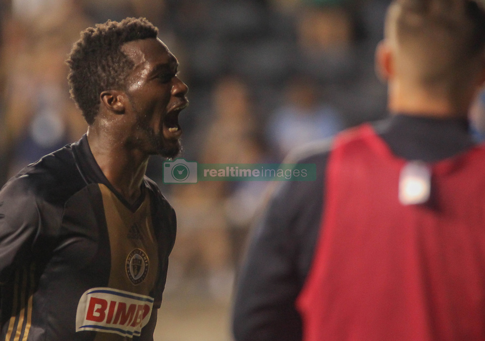 July 26, 2017 - Chester, PA, United States of America - Philadelphia Union Attacker C.J. SAPONG (17) celebrates his goal in the second half of a Major League Soccer match between the Philadelphia Union and Columbus Crew SC Wednesday, July. 26, 2017, at Talen Energy Stadium in Chester, PA. (Credit Image: © Saquan Stimpson via ZUMA Wire)