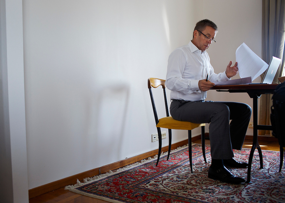 Ivan Mikloš prepares a report at his apartment on May 25, 2015 in Kyiv, Ukraine. Mr. Mikloš is Chief Advisor to the Minister of Finance of Ukraine and Advisor to the Minister of Economic Development and Trade of Ukraine.