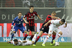 20.12.2013, Commerzbank Arena, Frankfurt, GER, 1. FBL, Eintracht Frankfurt vs FC Augsburg, 17. Runde, im Bild links: Trapp, Kevin (1) / Eintracht Frankfurt<br /> 2te/li :Altintop, Halil (7)/ FC Augsburg<br /> mitte: Flum, Johannes (18) / Eintracht Frankfurt<br /> mitte/re : Anderson, Bamba (23) / Eintracht Frankfurt<br /> rechts: Bobadilla, Raul (25)/ FC Augsburg // during the German Bundesliga 17th round match between Eintracht Frankfurt and FC Augsburg at the Commerzbank Arena in Frankfurt, Germany on 2013/12/21. EXPA Pictures © 2013, PhotoCredit: EXPA/ Eibner-Pressefoto/ KELLNER<br /> <br /> *****ATTENTION - OUT of GER*****