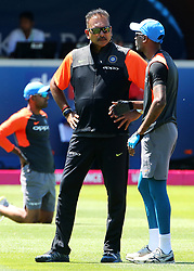 Indian cricket team coach Ravi Shastri oversees warm up before the Second Vitality IT20 Series Match at the Brightside Ground, Bristol.