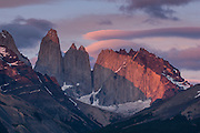 Early morning light on the towers of the Torres del Paine National Park, Patagonia