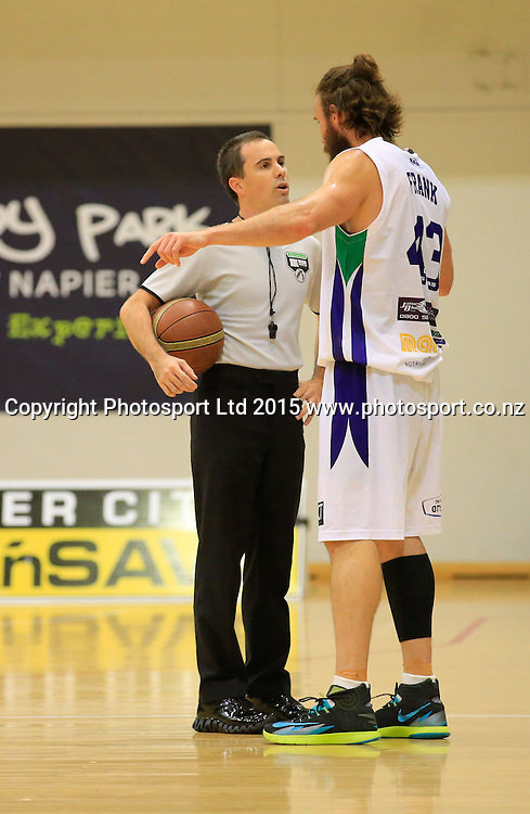 Ranger's Casey Frank talks to the ref. NBL basketball, Hawkes Bay Hawks  v Super City Rangers, PG Arena, Napier, New Zealand. Saturday, 18 April, 2015. Copyright photo: John Cowpland / www.photosport.co.nz