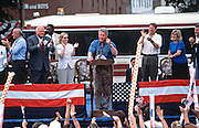 US President Bill Clinton with Vice President Al Gore during a campaign stop on their bus tour August 31, 1996 in Dyersburg, TN.