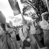 Myohoji monks, buddhist sect at antinuclear demonstration in shibuya