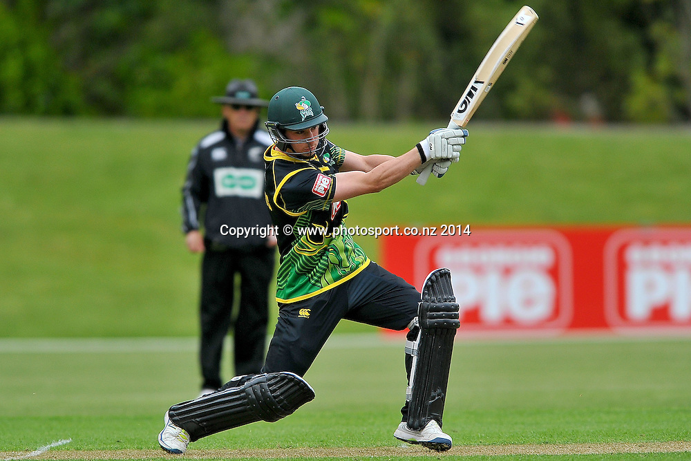 Will Young of Central Districts in action, during the Georgie Pie Twenty20 match between the Otago Volts and Central Districts, held at the University Oval, Dunedin, New Zealand, 13 November 2014. Credit: Joe Allison / www.photosport.co.nz