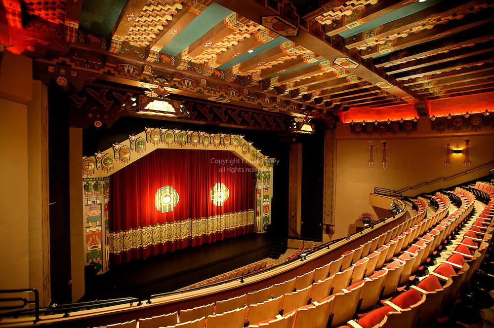Stage and seats in restored KiMo Theater circa 1927 Pueblo Deco Picture Palace Albuquerque New Mexico