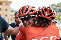 Marianne Vos (NED) celebrates the stage win on Stage 2 of 2019 Giro Rosa Iccrea, an 78.3 km road race starting and finishing in Viù, Italy on July 6, 2019. Photo by Sean Robinson/velofocus.com