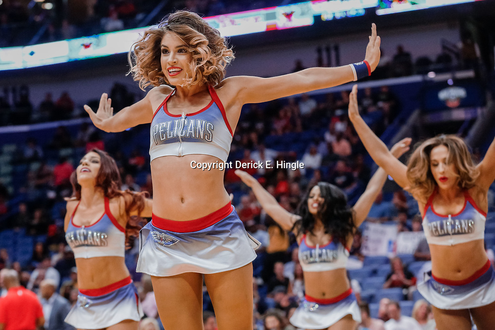 Oct 3, 2017; New Orleans, LA, USA; The New Orleans Pelicans dance team performs during the first half of a NBA preseason game against the Chicago Bulls at the Smoothie King Center. Mandatory Credit: Derick E. Hingle-USA TODAY Sports