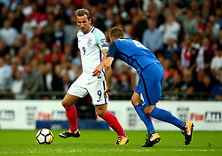 Harry Kane of England takes on Jan Durica of Slovakia - Mandatory by-line: Robbie Stephenson/JMP - 04/09/2017 - FOOTBALL - Wembley Stadium - London, United Kingdom - England v Slovakia - 2018 FIFA World Cup Qualifier
